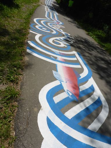 Singing River: Roadsworth installation, Pottery Road & Lower Don trail