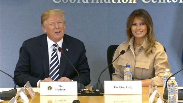 President Trump took a moment to praise Melania Trump