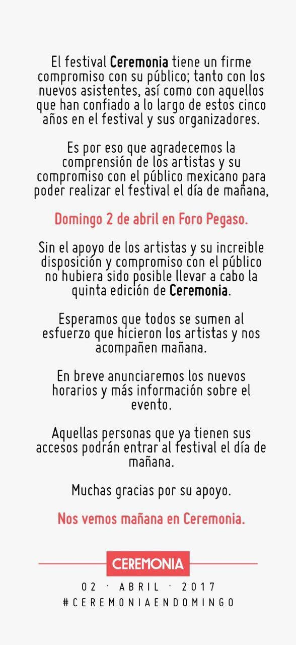 Ceremonia 2017 será el domingo 2 de abril