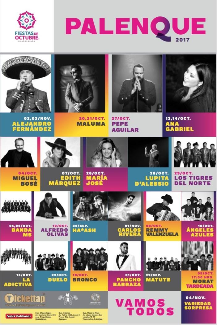 Cartelera Palenque Fiestas de Octubre 2017