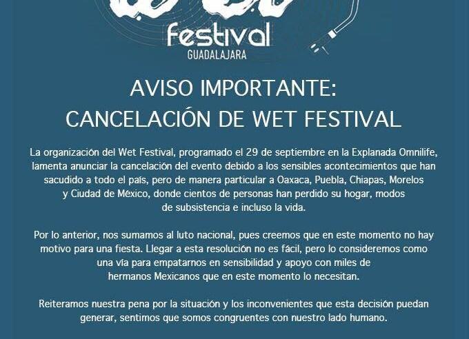 Se cancela Wet Festival Guadalajara 2017