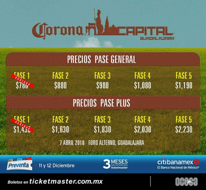 Corona Capital Guadalajara 2018 Boletos