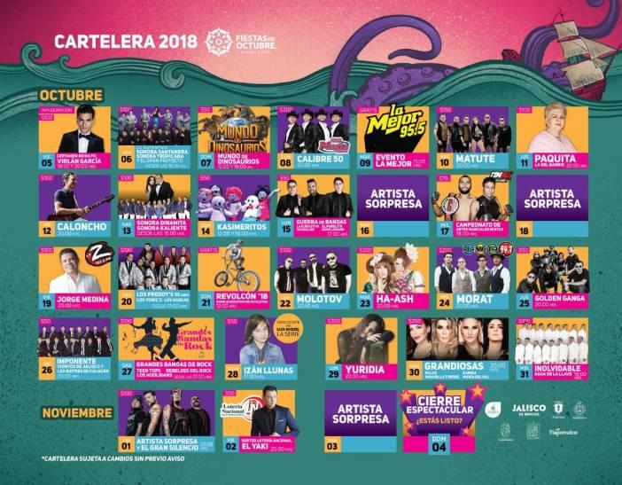 Cartelera Foro Principal Fiestas de Octubre 2018