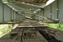 The old wooden service platform beneath one of the disused viaducts