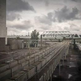 Außengelände des Kernkraftwerkes in Tschernobyl