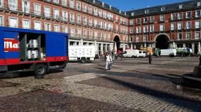 10 am prep-mode in the Plaza Mayor, Madrid.