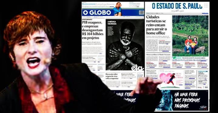 """""""Sinto nojo"""", diz Eliane Brum sobre capas do Globo e do Estadão. """"… mais do que uma vergonha histórica"""""""