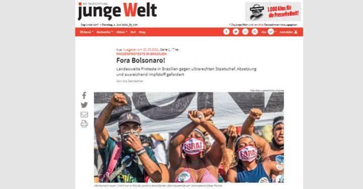 """Na Alemanha, jornal publica """"Fora Bolsonaro!"""" em português e destaca """"política corona"""" do presidente"""
