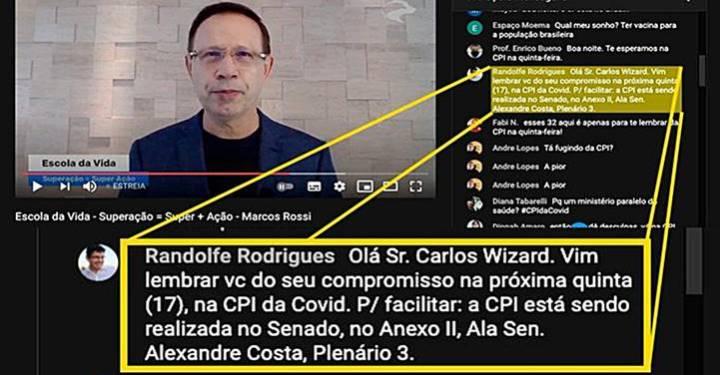 """Randolfe intima Carlos Wizard: """"Recomendamos fortemente o seu comparecimento"""""""