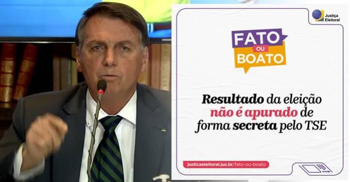 """Bolsonaro mente em live e obriga TSE a desmentí-lo em tempo real. """"Vergonha alheia"""", dizem perfis"""