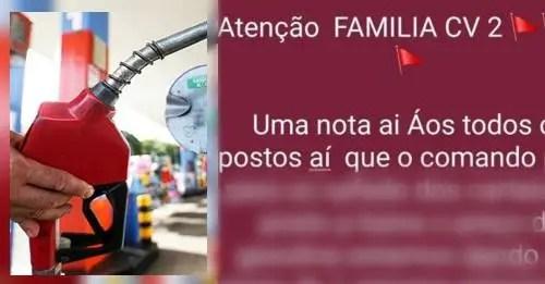 Facção CV de Manaus pede para baixar preço dos combustíveis sob ameaça de colocar fogo em postos