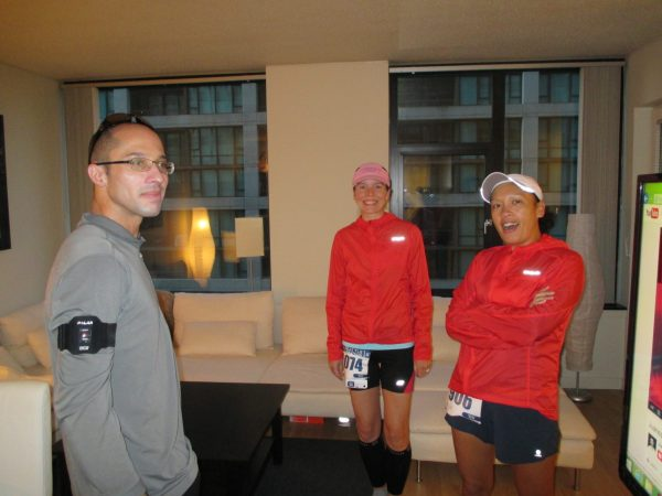 Pre-racing at our place. It worked out perfectly for them as they could jog from our apartment to the starting line for their warm up.