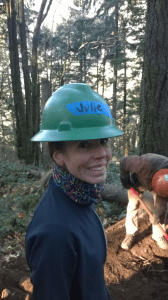 Julie rocking the hard hat! It was cold, low 30's when we headed up the mountain.