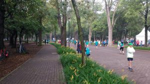 The finish of Julie's 16k race in Chapultepec Park