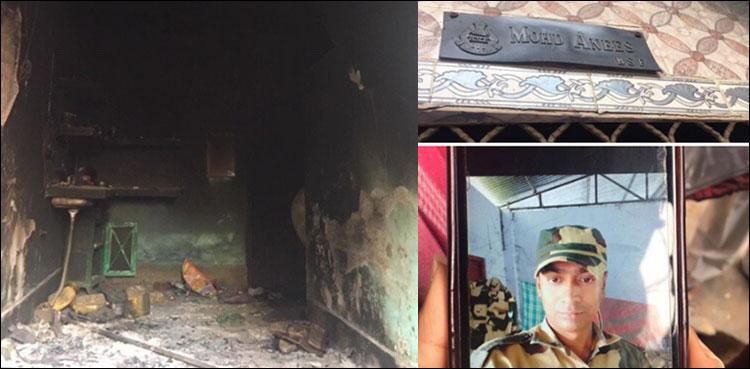 نئی دہلی: مشتعل ہجوم نے فوجی اہلکار کو بھی نہ بخشا، گھر کو آگ لگا دی