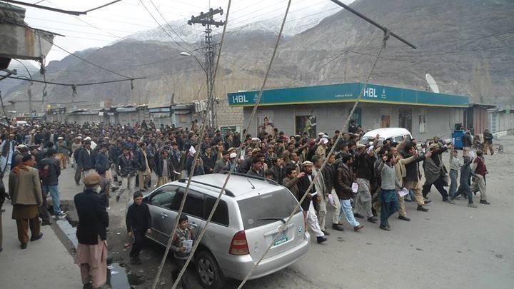 عوامی ایکشن کمیٹی کی قیادت میں تاریخی احتجاج، گلگت بلتستان میں شٹر ڈاون اور پہیہ جام ہڑتال کامیاب