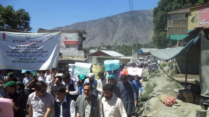 چائلڈ پروٹیکشن یونٹ چترال کے زیر انتظام ایک آگہی واک چترال میں منعقد