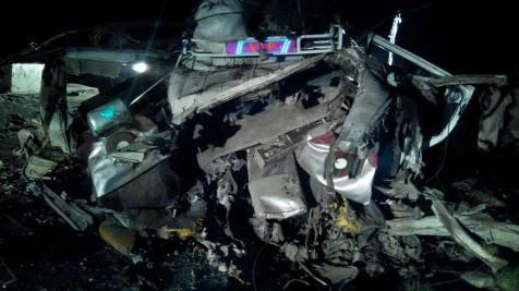 تباہ شدہ گاڑی کا ایک منظر