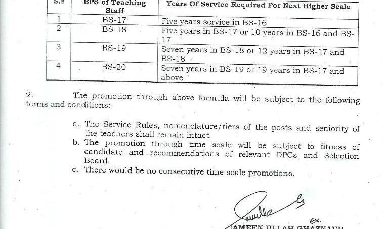 گلگت بلتستان میں کالجوں کے تدریسی عملے کے لیے ٹائم سکیل ترقی کا نوٹیفیکیشن جاری
