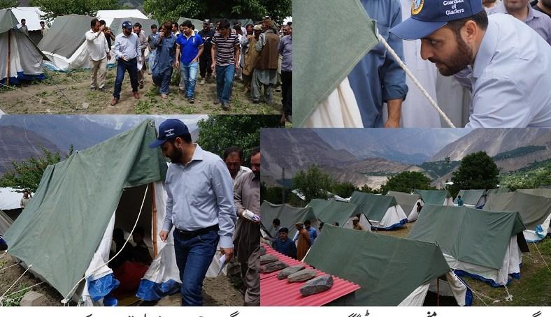 ضلع نگر کے علاقے میاچھر میں لینڈ سلائیڈنگ کے خدشے کی وجہ سے خیمہ بستی قائم