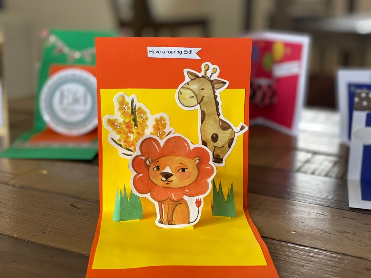 animal themed Eid greeting cards
