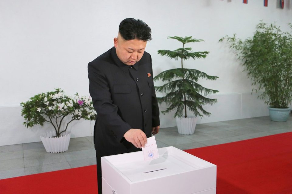 Ким Чен Ун гласува за себе си. Снимка: EPA/БГНЕС