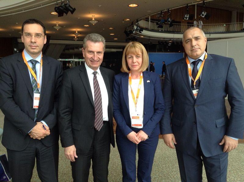 Бойко Борисов, Димитър Николов и Йорданка Фандъкова се срещнаха с европейския комисар по енергетиката Гюнтер Йотингер. Снимка: ГЕРБ