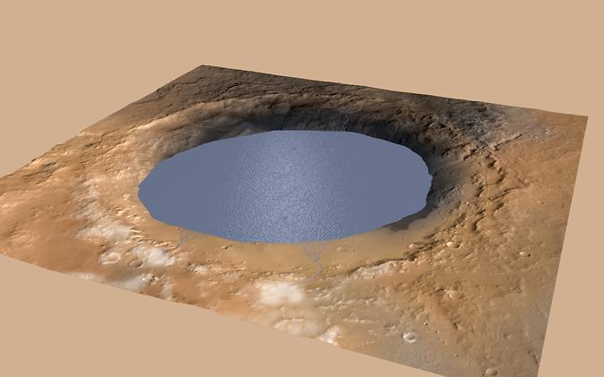Кратерът Гейл. Изображение: NASA