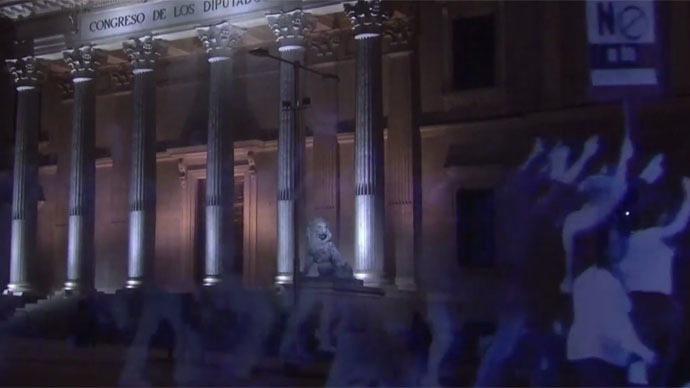 протест холограма Испания