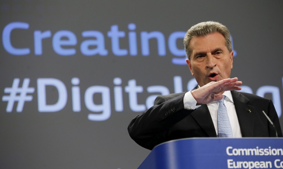 Еврокомисарят по дигитална икономика Гюнтер Йотингер. Снимка: ЕРА/БГНЕС