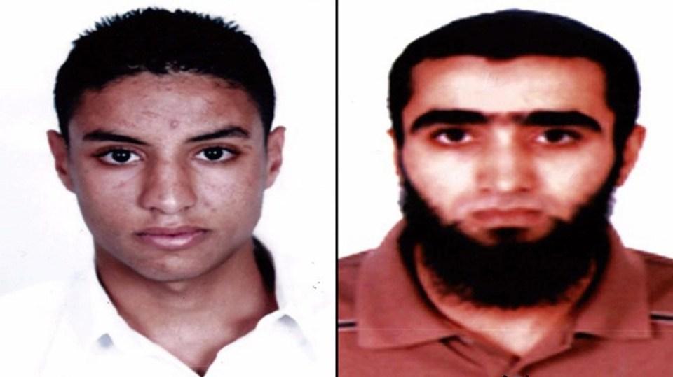 Портрети на двамата заподозрени приятели на атентатора в Сус. Снимка: EPA/ БГНЕС