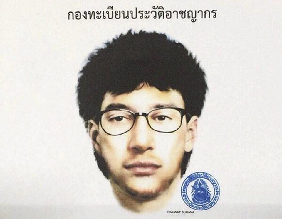 Скица на атентатора в Банкок, Тайланд. Снимка: EPA/ БГНЕС