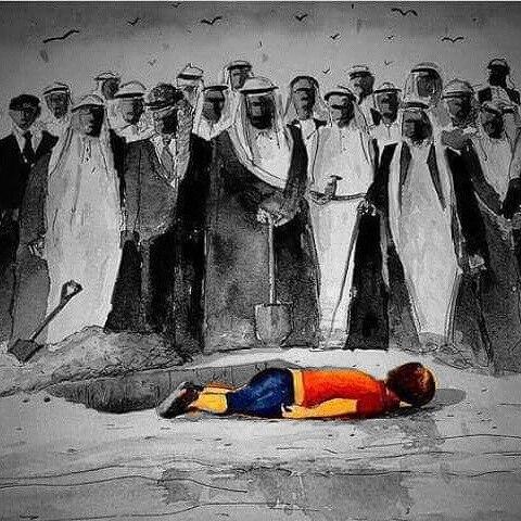 Карикатура с критика към Саудитска Арабия, Кувейт, ОАЕ, Катар и Бахрейн, който не са приели нито един бежанец от Близкия изток. Източник: Adam Kelwick