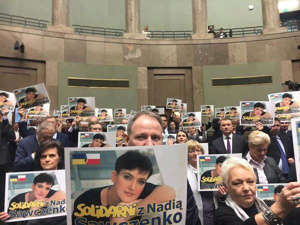 Парламентът в Полша организира акция на съпричастност с Надя Савченко.