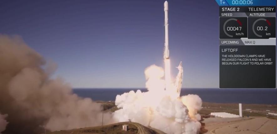 Изстрелването на ракетата Falcon9. Стопкадър: spacex.com