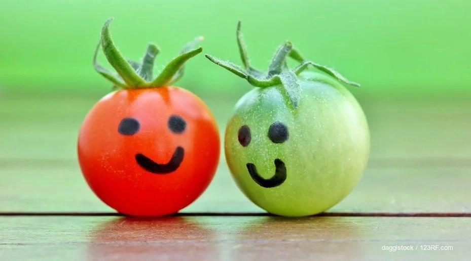 Eine rote und eine grüne Tomate lächeln einander zu. Was ist besser: Cyanocobalamin oder natürliche Vitamin-B12-Formen?