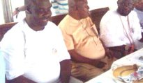 (L-R) Mr Boro Obuke, Hon Monday Egbuya and Chief Emami Ayiri during the meeting in support of Paul Obuh as Governor of Delta State