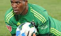 Captian and goal keeper of Bafana Bafana of South Africa in action during of of the CAF qualifiers