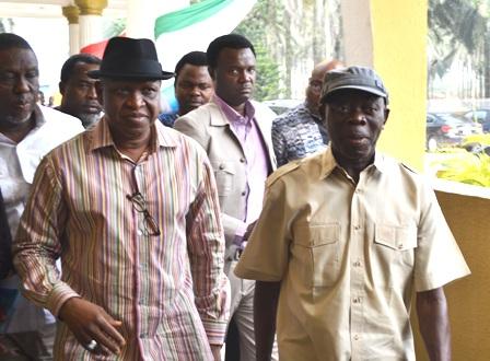 (L-R) Delta State APC Governorship candidate, Chief O-tega Emerhor and Edo State State Governor, Comrade Adam Oshiomole