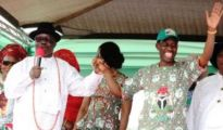 Dr Emmanuel Uduaghan introducing Senator Ifeanyi Okowa at a rally