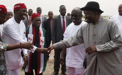 (R-L) President Goodluck Jonathan,Dr Emmanuel Uduaghan,Prof Emos Utuamah and Dr Ifeanyi Okowa during the President arrival at Asaba International Airport