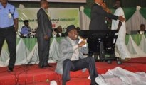 Godsday Orubebe protesting when INEC Chairman Atahiru Jega was announcing the the presidential election result