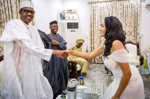 Muslims frown at Buhari shaking hands with the new wife of Edo Governor Oshiomhole, Miss Lara Fortes, a young model from Cape Verde
