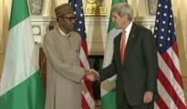 President Muhammadu Buhari (l) and US Secretary of States John Kerry during press briefing