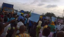 Anti-Buhari's protesters on the street of Port Harcourt, Rivers State on Monday.....