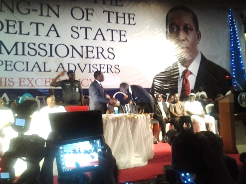 Olorogun David Edevbie thanking Delta State Governor, Dr Ifeanyi Okowa for appaointing him as Delta State Commissioner of Finance