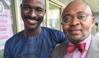 CKN Publisher, Chris Nwandu (l) and Emeka Okpara after his release from Ikoyi prison