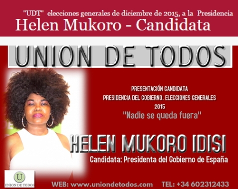 Helen  Mukoro Presidential poster as seen on the street of Spain