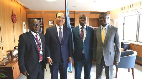 From Left: The Director General of NIMASA, Dr. Dakuku Peterside, Minister of Transportation, Rt. Hon. Rotimi Chibuike Amaechi, IMO Secretary General Mr. Kitack Lim and Nigeria's Alternate Permanent Representative (APR) to the IMO, Mr. Diko Bala during a visit to the IMO head Quarters in London recently.
