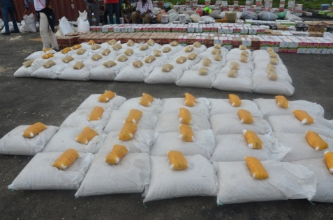 Parcels of drugs found in sacks of foodstuff
